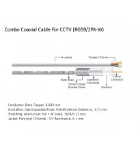 2-Pair RG-59 Combo Coaxial Cable for Mid-Range CCTV Signal Transmission (White) (RG59/2PA-W)